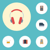 Flat Icons Octave Keyboard, Tambourine, Earphone And Other Vector Elements. Set Of Audio Flat Icons Symbols Also Stock Images
