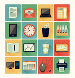 Flat icons office Royalty Free Stock Photos