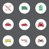 Flat Icons Omnibus, Lorry, Automobile And Other Vector Elements. Set Of Auto Flat Icons Symbols Also Includes Airplane. Flat Icons Omnibus, Lorry, Automobile And Stock Images
