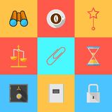 Flat icons for organization of outsourced. Set of colored square flat icons with symbols of organization of outsourced Royalty Free Stock Image