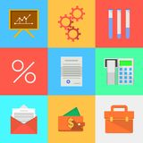 Flat icons for outsourced development Royalty Free Stock Photos