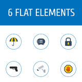 Flat Icons Padlock, Camera, Gun And Other Vector Elements. Set Of Security Flat Icons Symbols Also Includes Vault Stock Image