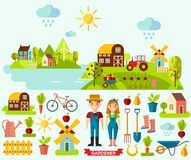 Flat icons and panoramic rural landscape with gardening concept. Garden set icons and landscape with a garden, various plants, trees, mill, barn,tractor in flat Royalty Free Stock Photography