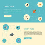Flat Icons Panther, Hound, Moose And Other Vector Elements. Set Of Animal Flat Icons Symbols Also Includes Puma, Leopard Stock Image