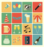 Flat icons party set. Vector flat icons party colorful set Royalty Free Stock Images