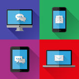 Flat icons PC, laptop, cell phone and tablet Stock Photo