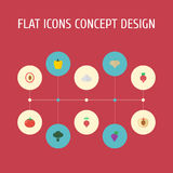 Flat Icons Peach, Love Apple, Garlic And Other Vector Elements. Set Of  Flat Icons Symbols Also Includes Cauliflowe. Flat Icons Peach, Love Apple, Garlic And Stock Photo