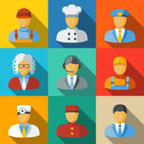 Flat icons with people faces of different Stock Photography