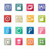 Flat icons photo camera function and white background Stock Photography