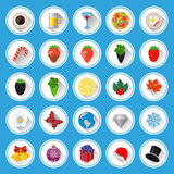 Flat icons and pictograms set. Vector illustration Stock Photos