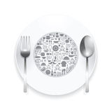 Flat Icons plate,foods concept vector illustration. Royalty Free Stock Images
