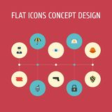 Flat Icons Policeman, Vision, Gun And Other Vector Elements. Set Of Security Flat Icons Symbols Also Includes Headwear Stock Photography