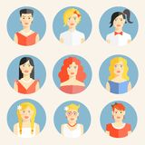 Flat icons with portraits of fashionable women Royalty Free Stock Photography