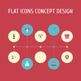 Flat Icons Posy, Sexuality Symbol, Chariot And Other Vector Elements. Set Of Engagement Flat Icons Symbols Also Includes Stock Images