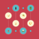 Flat Icons Prayer Carpet, Dromedary, Muslim Woman And Other Vector Elements. Set Of Religion Flat Icons Symbols Also stock illustration