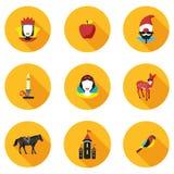 Flat icons princess Snowdrop Stock Photos