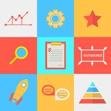 Flat icons for process of outsourced Royalty Free Stock Photography