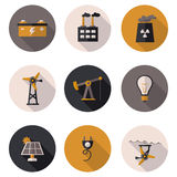 Flat icons production of electricity Stock Photos