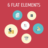 Flat Icons Profit, Safe, Tactics And Other Vector Elements. Set Of Registration Flat Icons  Royalty Free Stock Photo