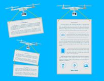 Flat icons for quardocopter advertising Stock Photos