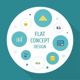Flat Icons Remote Paying, Cash Stack, Money Box And Other Vector Elements.. Flat Icons Remote Paying, Cash Stack, Money Box And Other Vector Elements Stock Image