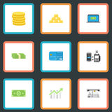 Flat Icons Remote Paying, Small Change, Ingot And Other Vector Elements. Set Of Finance Flat Icons Symbols Also Includes. Flat Icons Remote Paying, Small Change Stock Image