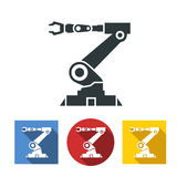 Flat icons of robotic hand machine tool at industrial manufacture factory.  Stock Photo