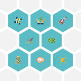 Flat Icons Rocket, Income, Design And Other Vector Elements. Set Of Startup Flat Icons Symbols Also Includes Development. Flat Icons Rocket, Income, Design And Royalty Free Stock Photos