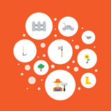 Flat Icons Rubber Boots, Fence, Grower And Other Vector Elements. Set Of Agriculture Flat Icons Symbols Also Includes. Flat Icons Rubber Boots, Fence, Grower And Stock Photo