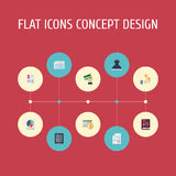 Flat Icons Safe, Duty, Sheet And Other Vector Elements. Set Of Recording Flat Icons Symbols Also Includes Money, Income Stock Images