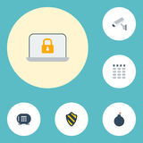 Flat Icons Safe, Shield, Keypad And Other Vector Elements. Set Of Procuring Flat Icons Symbols Also Includes Protection Royalty Free Stock Image