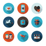 Flat icons of Saint Valentine Royalty Free Stock Photography