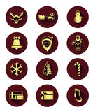 flat icons of Santa claus and Christmas Day Royalty Free Stock Images