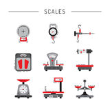 Flat icons of scales Royalty Free Stock Photography
