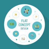 Flat Icons Schedule, Coin, Financing And Other Vector Elements. Set Of Startup Flat Icons Symbols Also Includes Bulb royalty free illustration