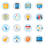 Flat Icons For School Icons and Education Icons Vector Illustration Stock Photography