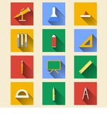 Flat icons for school supplies Royalty Free Stock Photography