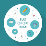 Flat Icons Science, Screen, Writing And Other Vector Elements. Set Of Original Flat Icons Symbols Also Includes Draw Stock Image