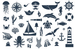 Flat icons with sea creatures and symbols Royalty Free Stock Image
