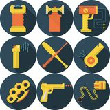 Flat icons for self defence Royalty Free Stock Photo