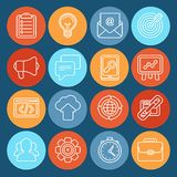 Flat  icons - SEO symbols in outline style Stock Image