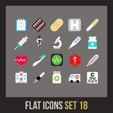 Flat icons set 18. Medical collection Stock Photo