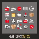 Flat icons set 20. Sales and retail collection Stock Images