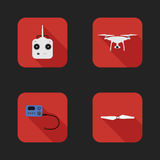 Flat icons set of aerial quadrocopter.  Stock Photo