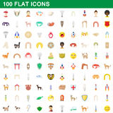 100 flat icons set. For any design vector illustration Royalty Free Stock Photography