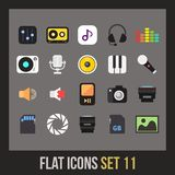Flat icons set 11. Audio and photo collection stock illustration