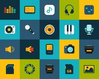 Flat icons set 11. Audio and photo collection vector illustration