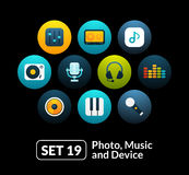 Flat icons set 19 - audio and photo collection Royalty Free Stock Photo