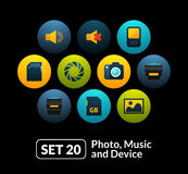 Flat icons set 20 - audio and photo collection Stock Images
