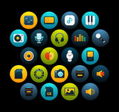 Flat icons set 11. Audio and photo collection, for phone watch or tablet, isolated on black background vector illustration